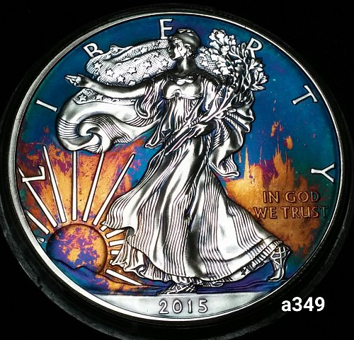 2015 Rainbow Toned Silver American Eagle 1 troy ounce silver #a349