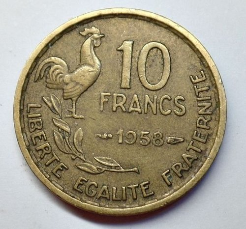 1958 TEN FRANCS  FRANCE BETTER  DATE   #  16