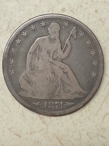 1874 Seated Liberty Half