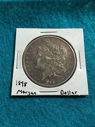 1898 Morgan Silver Dollar 90% Silver U.S. Coin - Free Shipping!