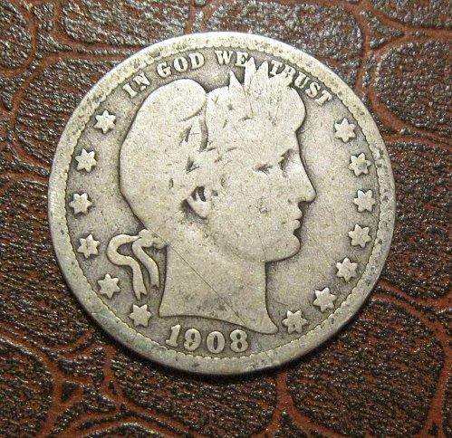 1908-O Barber Quarter Dollar,