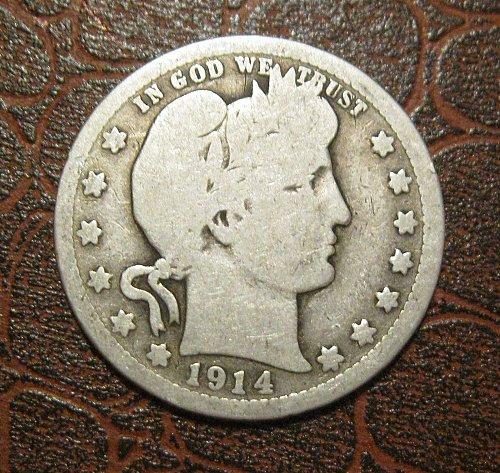 1914-P Barber Quarter Dollar,