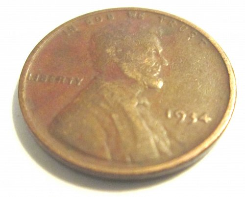 1934 Lincoln Wheat Small Cent Without Mintmark