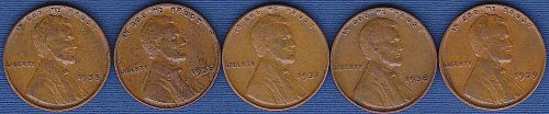 Lincoln Wheat Cents 1935, 1936, 1937, 1938, 1939 (5)