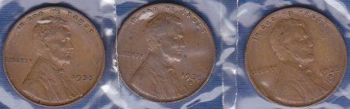 1935 Lincoln Wheat Cents P, D & S (3)