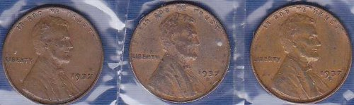 1937 Lincoln Wheat Cents P, D, & S (3)