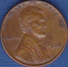 1936 P Lincoln Wheat Cent