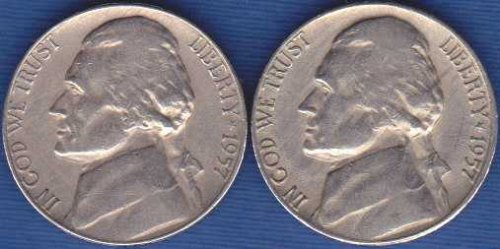 1957 P & D Jefferson Nickels