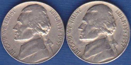 1957 P & D Jefferson Nickels