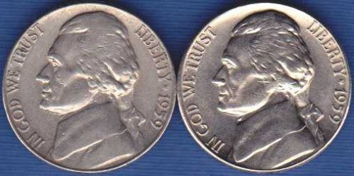 1959 P & D Jefferson Nickels