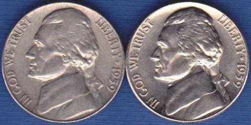 1959 P & D Jefferson Nickels