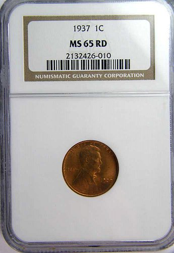 1937 P Lincoln Wheat Cent  MS 65 RED !!!!!!!!!!!!!!