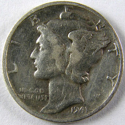 1941S Mercury Dime Significant DIE CRACK & Chip at 2:00