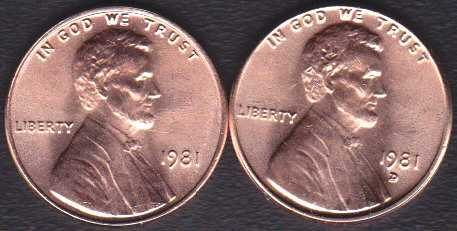 1981 P & D Lincoln Memorial Cents
