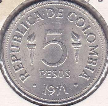 Colombia 5 Pesos 1971
