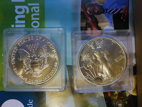 One1991 AMERICAN SILVER EAGLE Coin  With A Total Of One Troy Ounce Of .999 Silve
