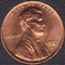 1972 D Lincoln Memorial Cent