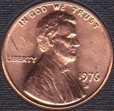 1976 D Lincoln Memorial Cent