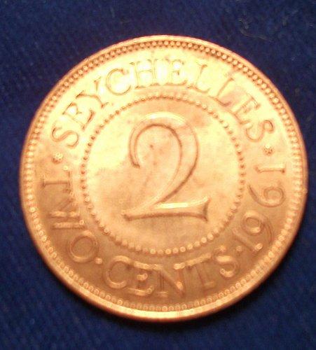 1961 Seychelles 2 Cents UNC
