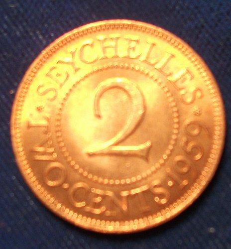 1959 Seychelles 2 Cents UNC