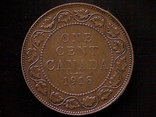 1918 CANADIA LARGE CENT COIN
