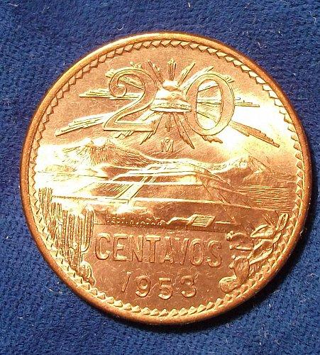 1953 Mexico 20 Centavos BU