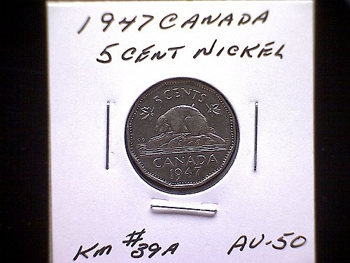 1947 CANADA  KING GEORGE V1  5 CENT COIN