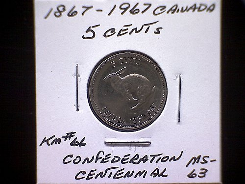 1867 - 1967 CANADA QUEEN ELIZABETH 11 CENTENNIAL OF CONFEDERATION  5 CENT COIN