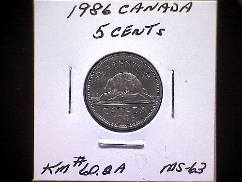 1986 CANADA QUEEN ELIZABETH 11  5 CENT COIN