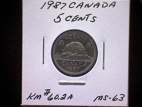 1987 CANADA QUEEN ELIZABETH 11  5 CENT COIN