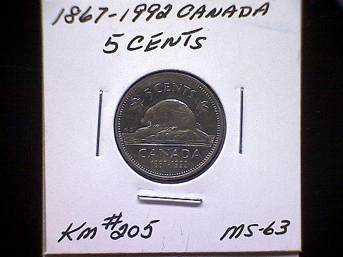 "1867 - 1992 CANADA QUEEN ELIZABETH 11  5 CENT COIN  ""125 YEARS OF CONFEDERATION"""