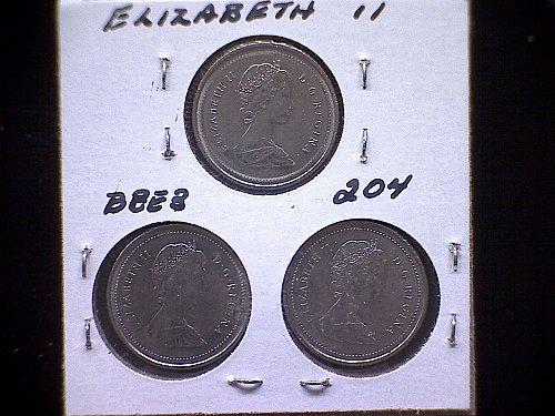 "1986-87-88  CANADA QUEEN ELIZABETH 11 10 CENT COIN  ""3 COIN LOT"""