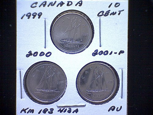 "1999-00-01P  CANADIAN  QUEEN ELIZABETH 11  10 CENT COINS  ""3 COIN LOT"""