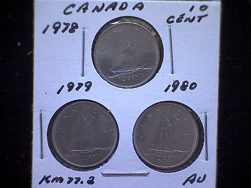 "1978-79-80  CANADA QUEEN ELIZABETH 11  10 CENT COINS  ""3 COIN LOT"""