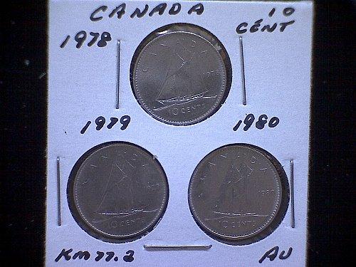 "1978-79-80  CANADA QUEEN ELIZABETH 11  10 CENT COINS  ""3 COIN LOT"""