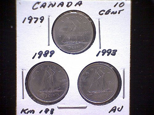 "1979-89-93  CANADA  QUEEN ELIZABETH 11  10 CENT COINS  ""3 COIN LOT"""