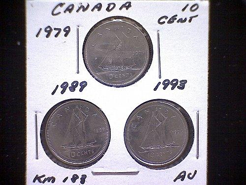 "1979-89-93  CANADA  QUEEN ELIZABETH 11  10 CENT COINS  ""3 COIN LOT"""