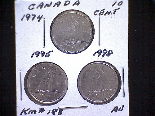 "1974-95-98  CANADA QUEEN ELIZABETH 11  10 CENT COINS  ""3 COIN LOT"""