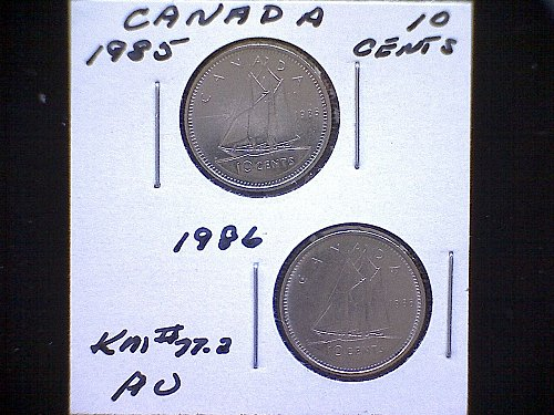 "1985-86 CANADA QUEEN ELIZBETH11  10 CENT COINS  ""2 COIN LOT"""