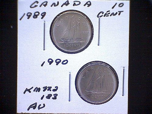"1989-90  CANADA QUEEN ELIZABETH 11  10 CENT COINS  ""2 COIN LOT"""