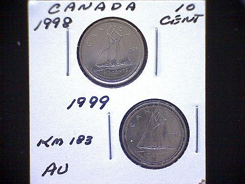 "1998-99 CANADA QUEEN ELIZABETH 11  10 CENT COINS  ""2 COIN LOT"""