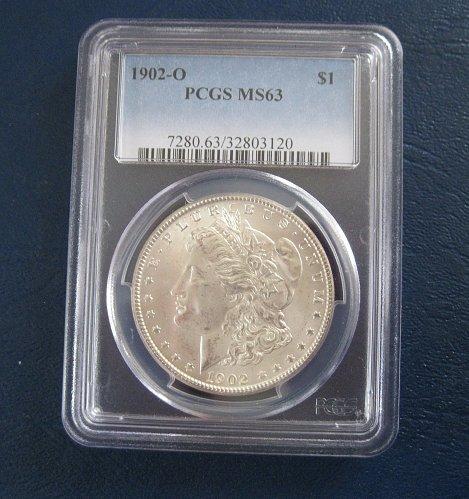 1902 O MORGAN SILVER DOLLAR, PCGS MS63