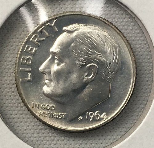 1964 D Roosevelt Dime From Roll BU/MS-65