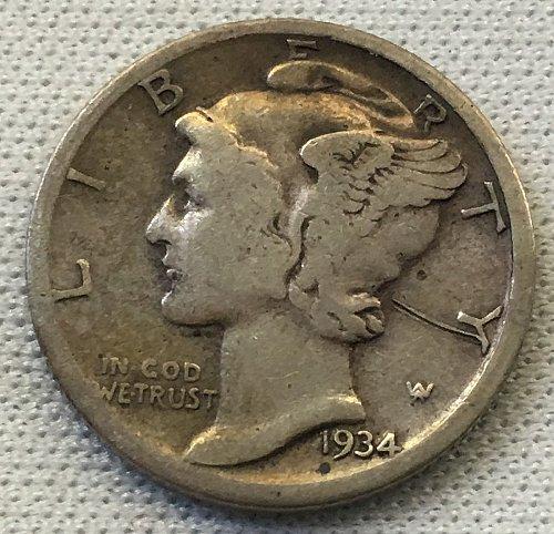1934 D Mercury Dime