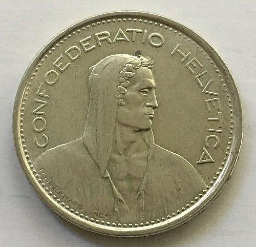 SWITZERLAND 1966 B  5 FRANCS SILVER