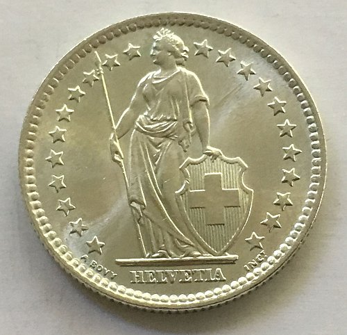 SWITZERLAND 1964 B  2 FRANCS SILVER