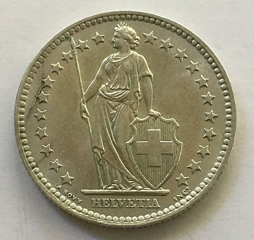 SWITZERLAND 1963 B  2 FRANCS SILVER
