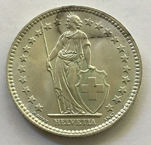 SWITZERLAND 1961 B  2 FRANCS SILVER