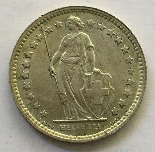 SWITZERLAND 1957 B  1/2 FRANC SILVER