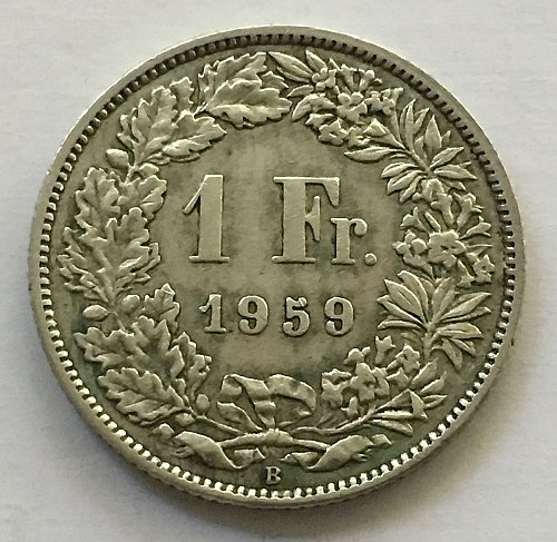 SWITZERLAND 1959 B  1 FRANC SILVER